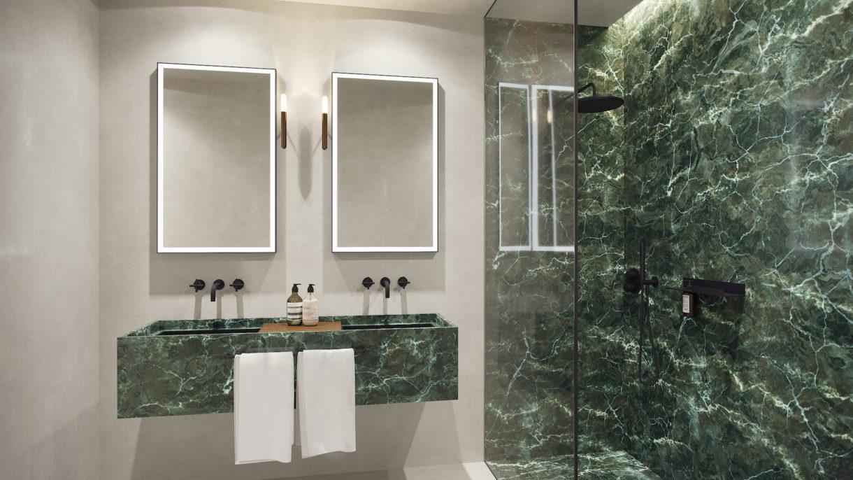 Hotel bathroom 3D rendering