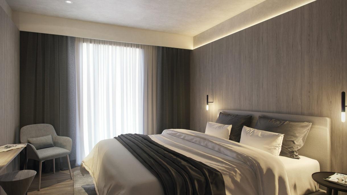 Hotel room 3D rendering