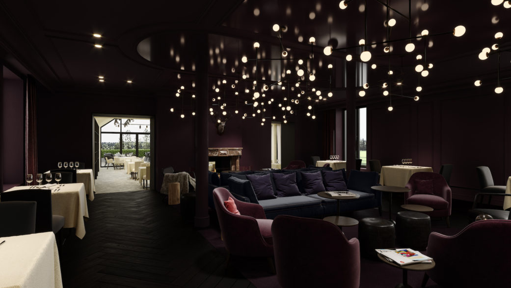 Hotel lounge 3D rendering