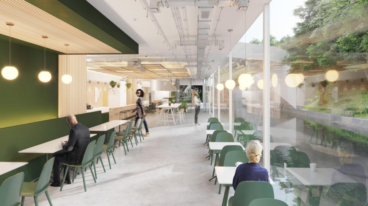 Office corridor 3D rendering