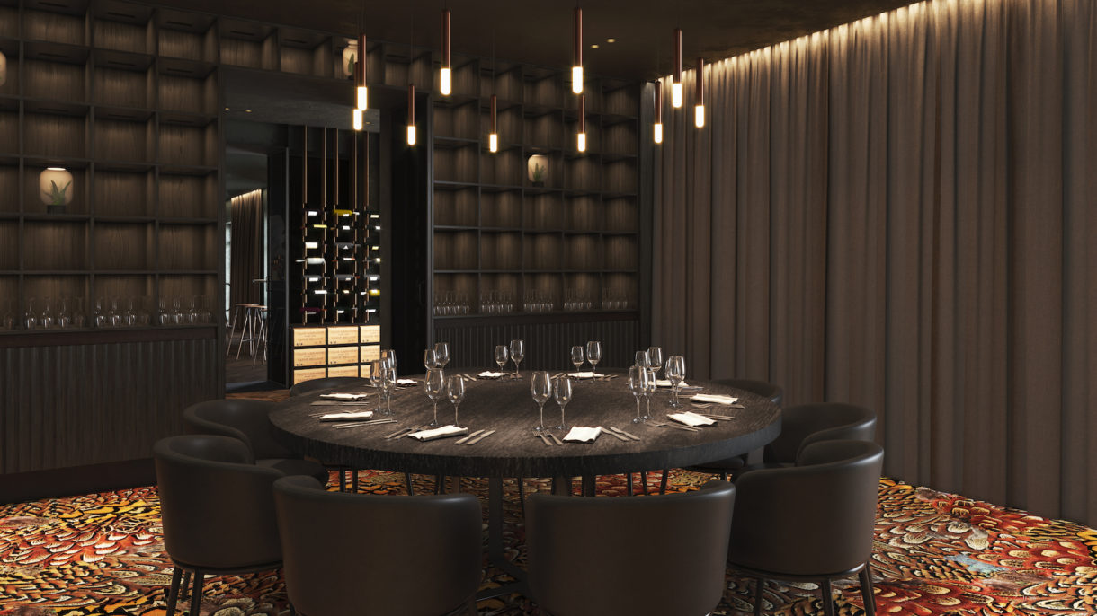 Private dining room 3D rendering