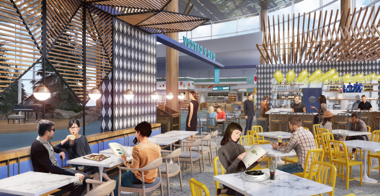Airport foodhall 3D rendering