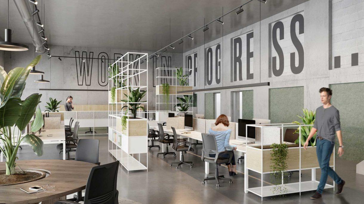 Coworking space 3D rendering