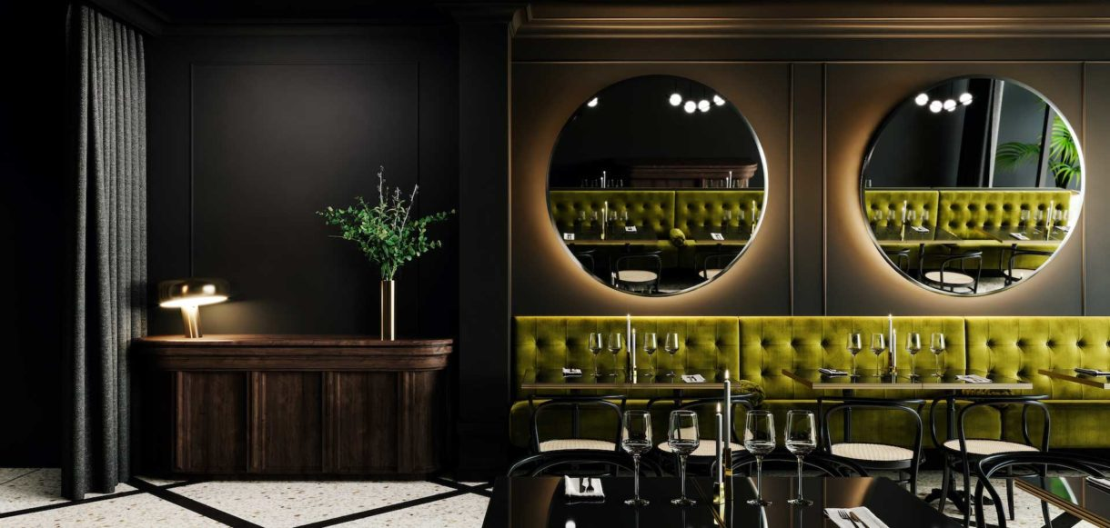 Commercial interior design 3D rendering