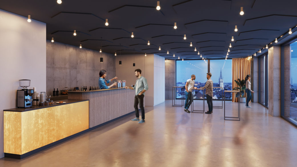 Evening event space 3D rendering