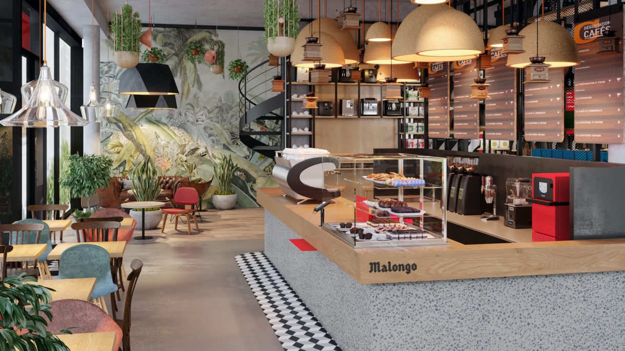 Coffee shop 3D rendering