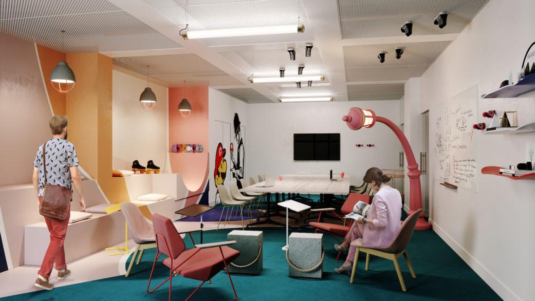 Colorful meeting room 3D render