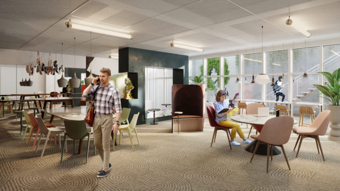 Colorful coworking 3D rendering