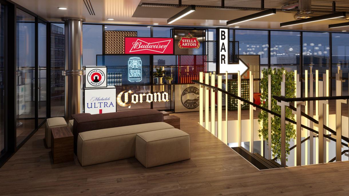 AB InBev London office interior design visualization