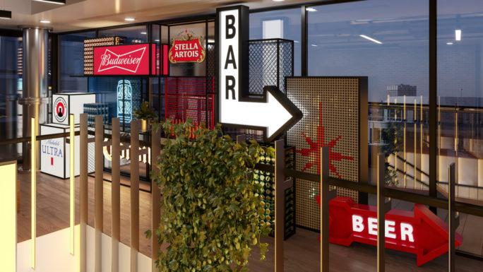 AB InBev signage 3D rendering