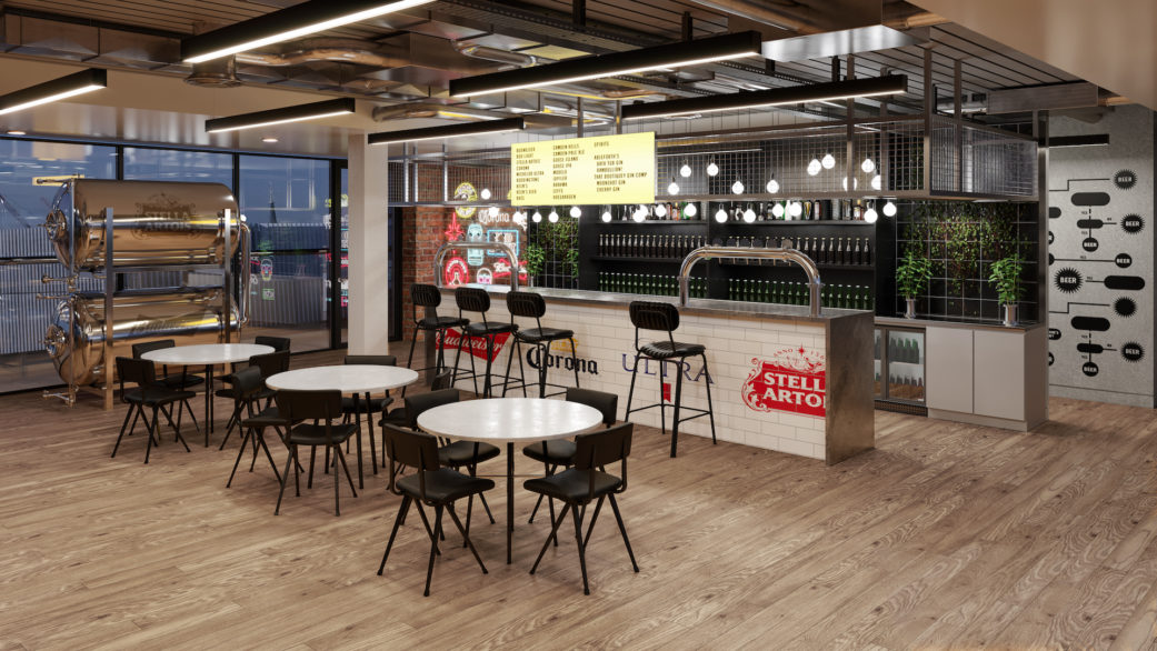 Ab InBev office cafeteria 3D visualization by nofuss
