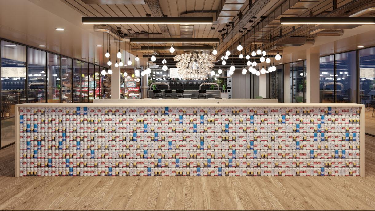 Stella Artois beer can bar 3D render