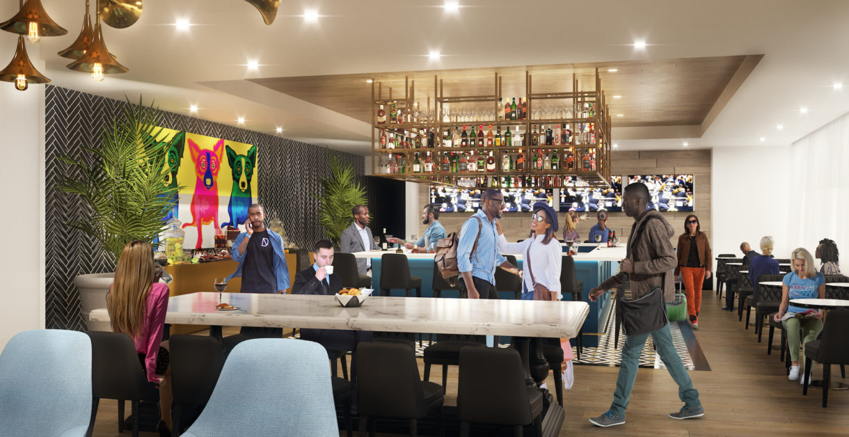 New Orleans airport lounge bar 3D visualization
