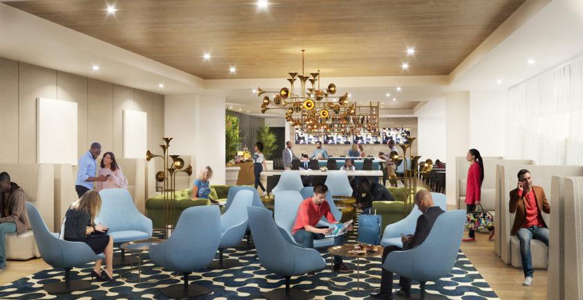 Lounge bar 3D rendering