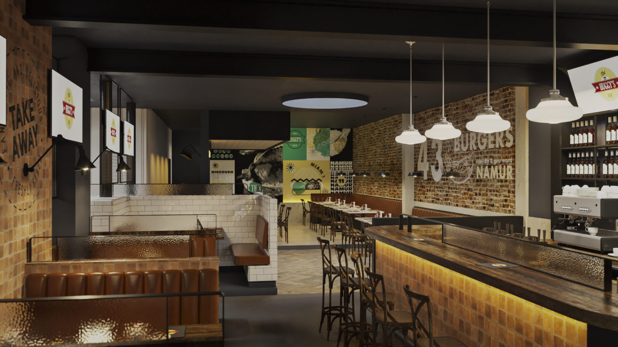 Burger restaurant interior visualization