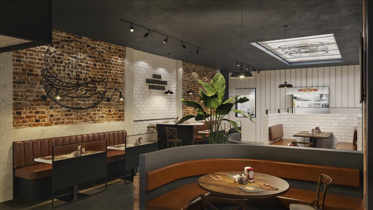Burger restaurant 3D rendering