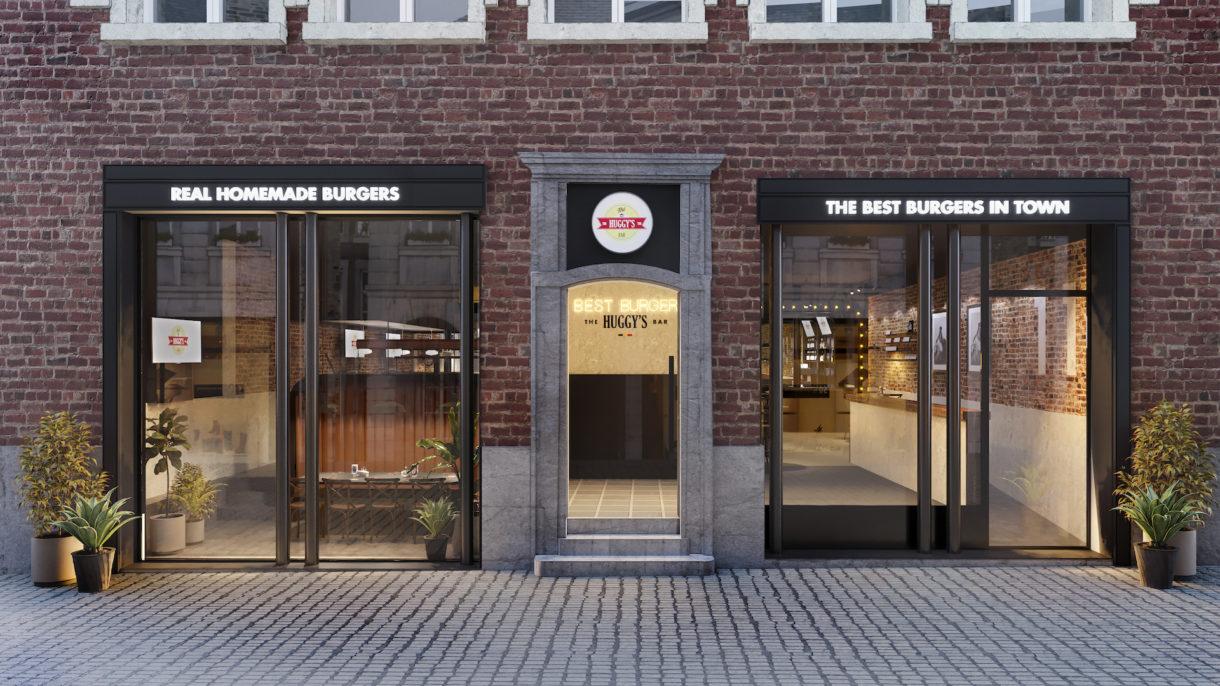 Burger restaurant exterior render