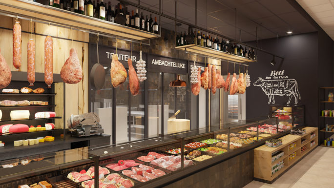 Refrigerated meat counter 3D visual