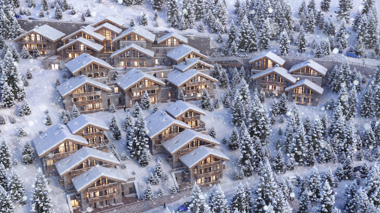 Mountain chalet 3D rendering