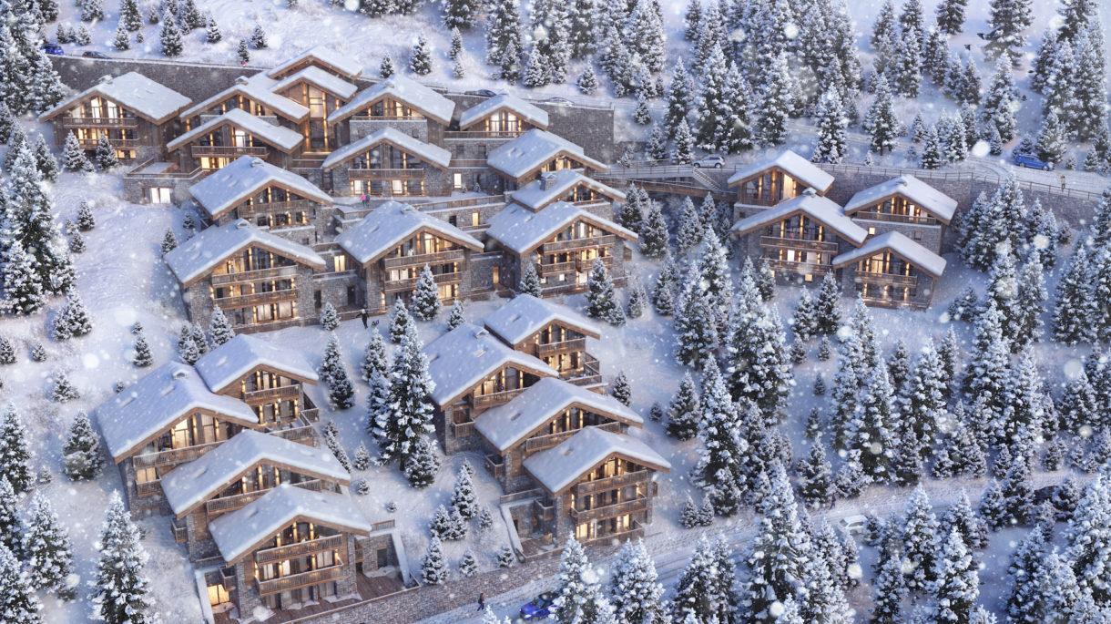 Mountain chalet 3D rendering