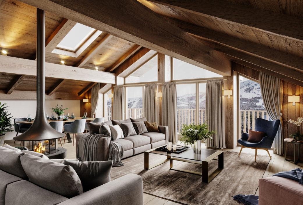 Alpine chalet interior 3D render