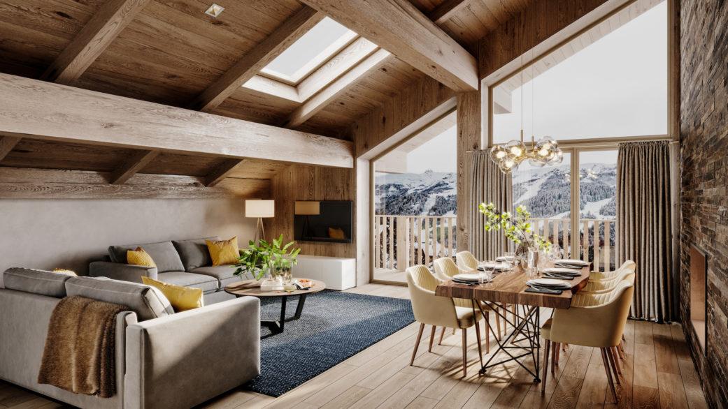 Skiing resort apartment 3D render