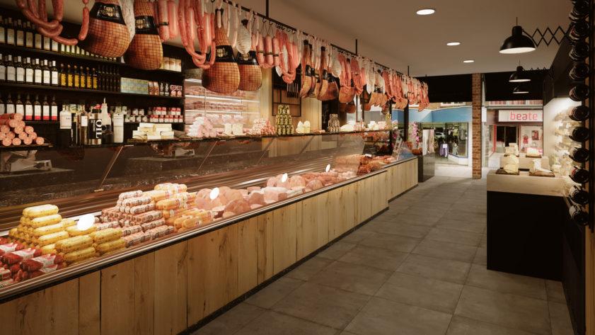 Butcher shop counter render