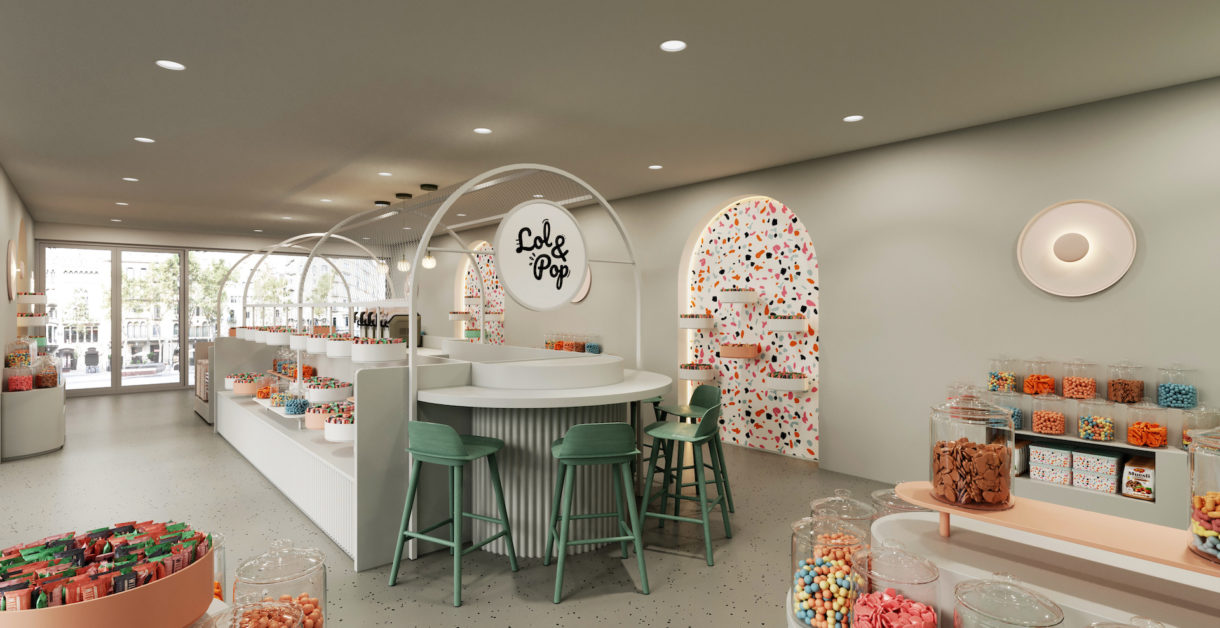 Realistic candy store 3D rendering