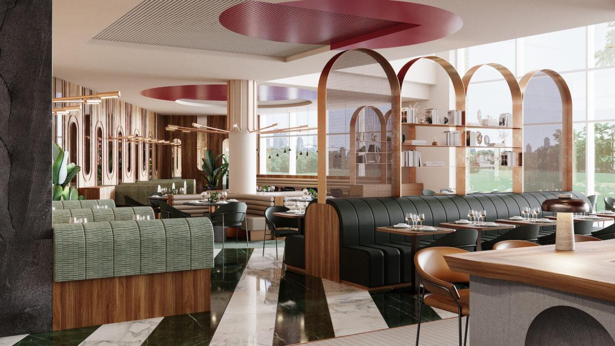 Hotel restaurant interior 3D rendering