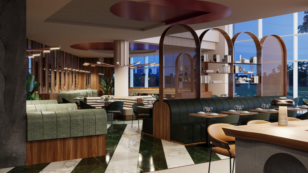 Evening restaurant 3D rendering