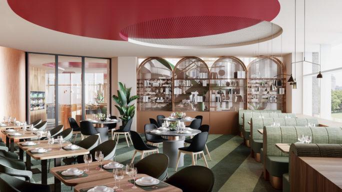 Craft food bar restaurant 3D visualization