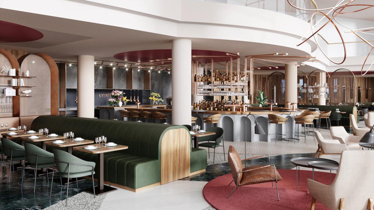 Hotel lobby interior design 3D visualization