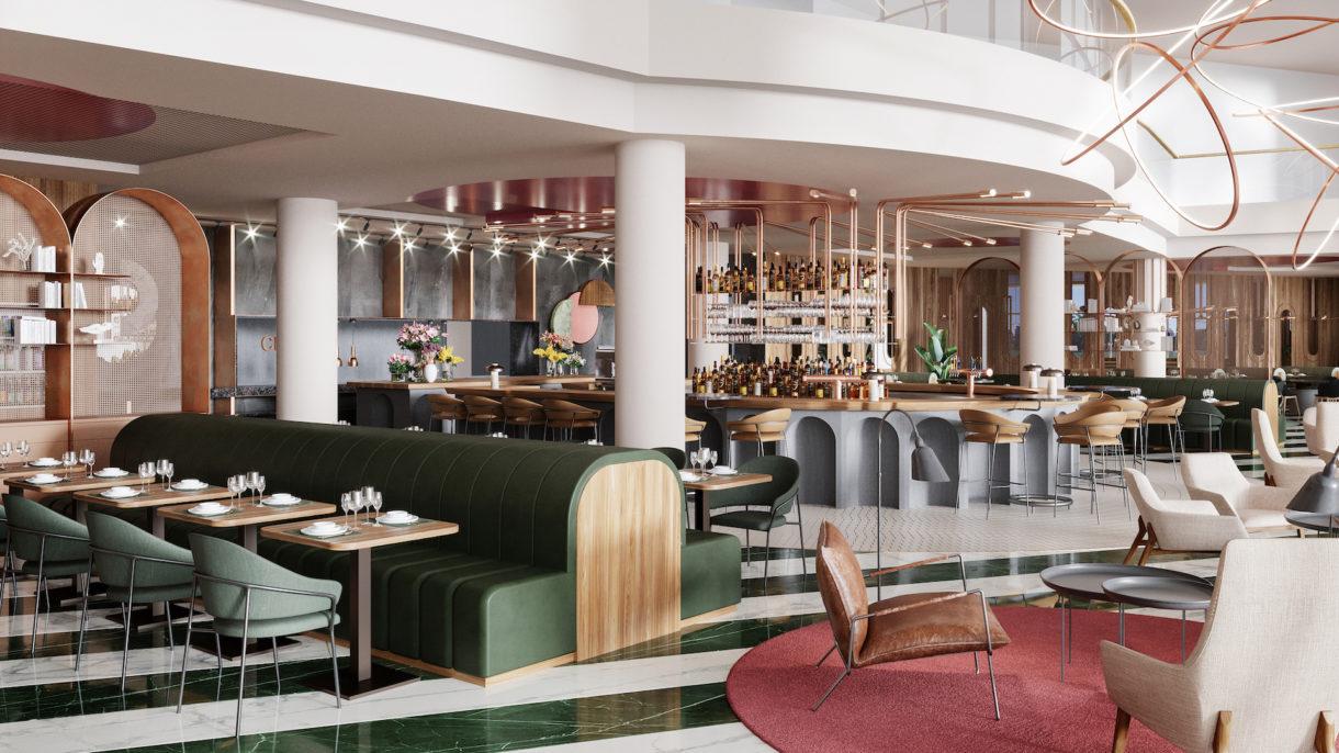 Realistic Crowne Plaza Brussels hotel 3D visualization