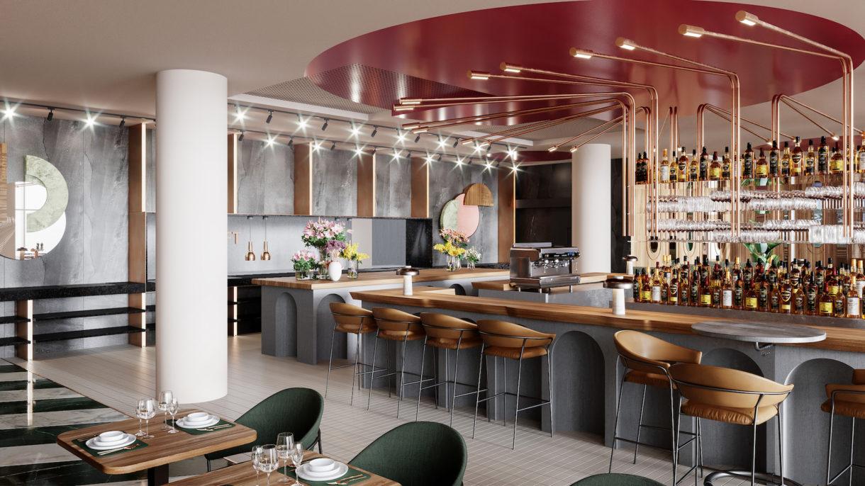 Hotel bar 3D rendering