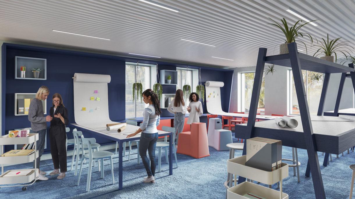 Coworking interior design 3D rendering