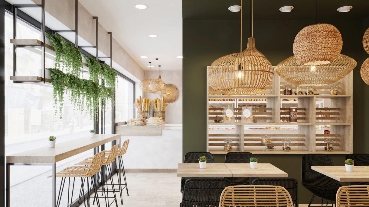 Minimalistic café interior design scheme