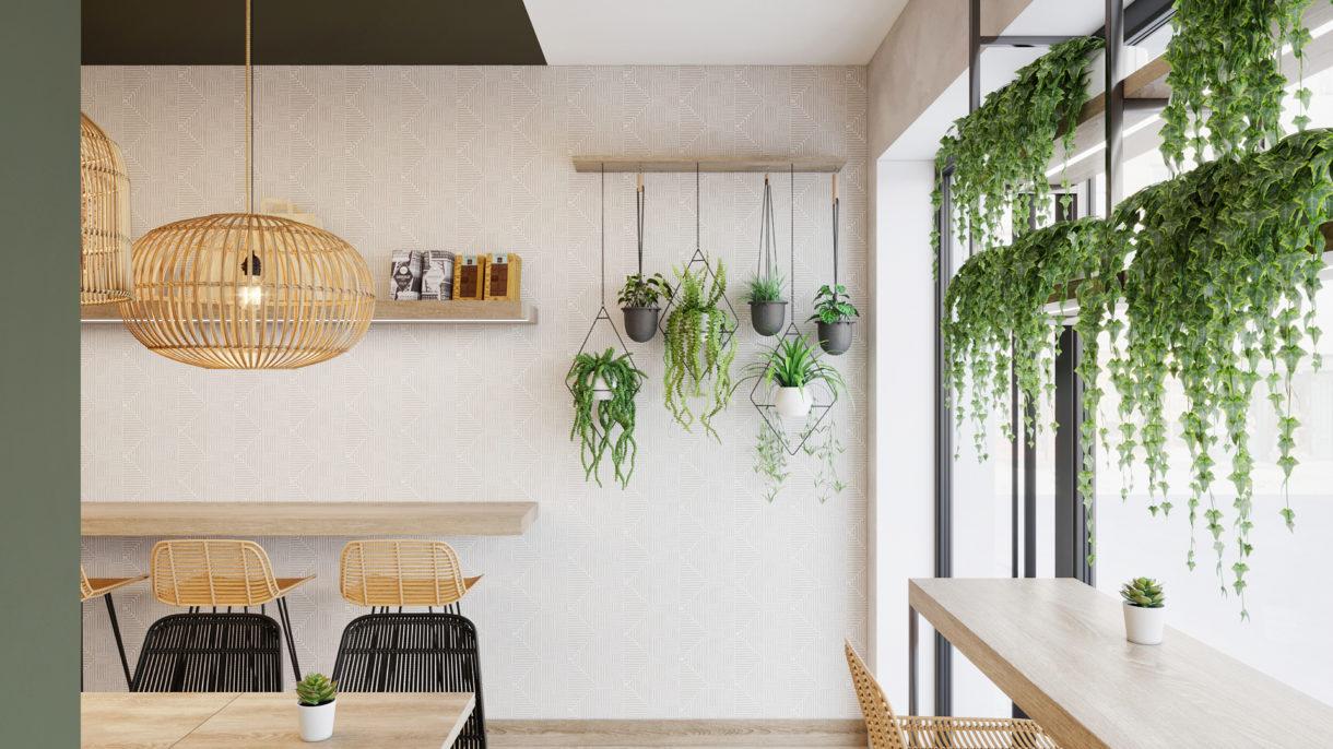 Hanging plants interior design feature