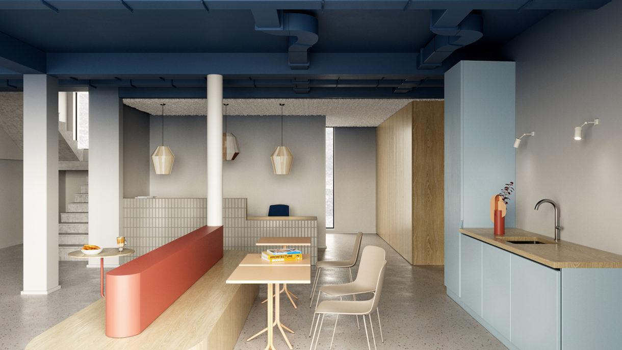 Office reception 3D rendering