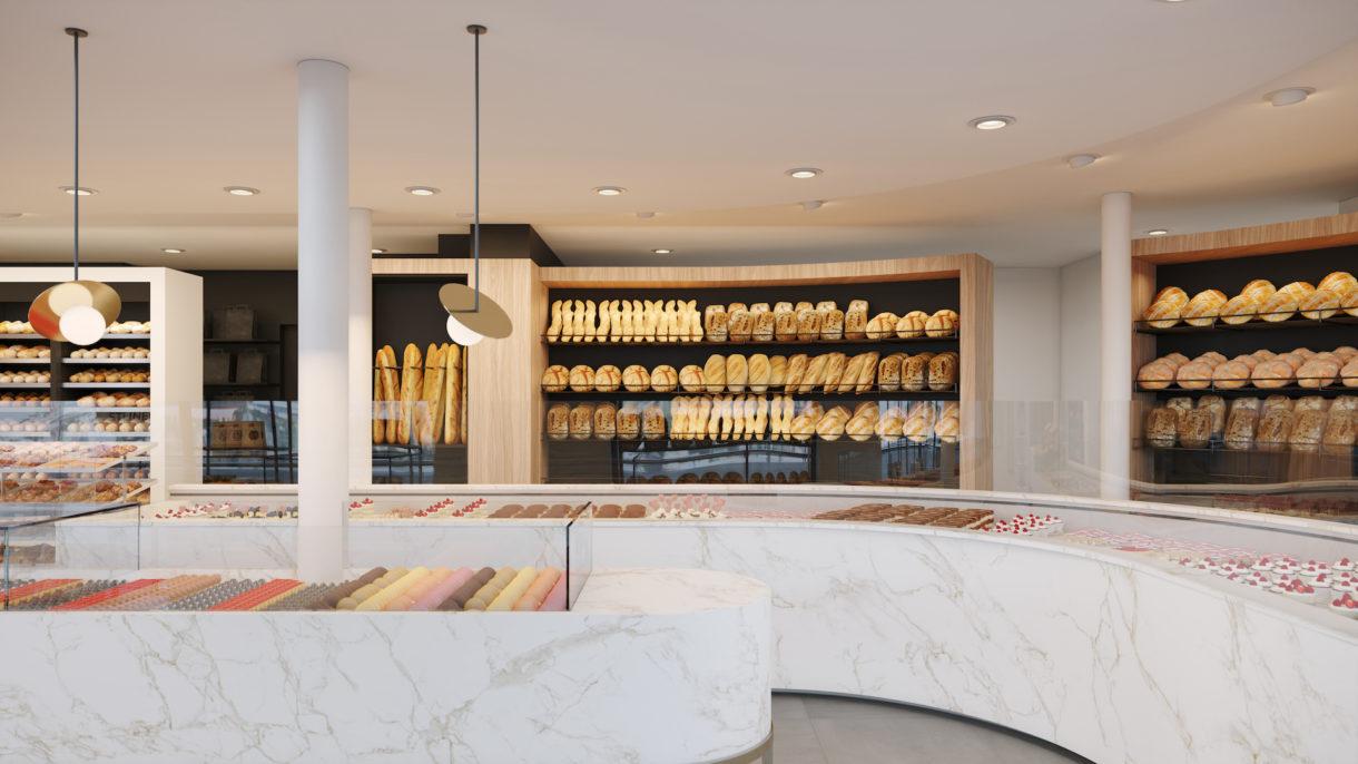 Refrigerated bakery counter CGI