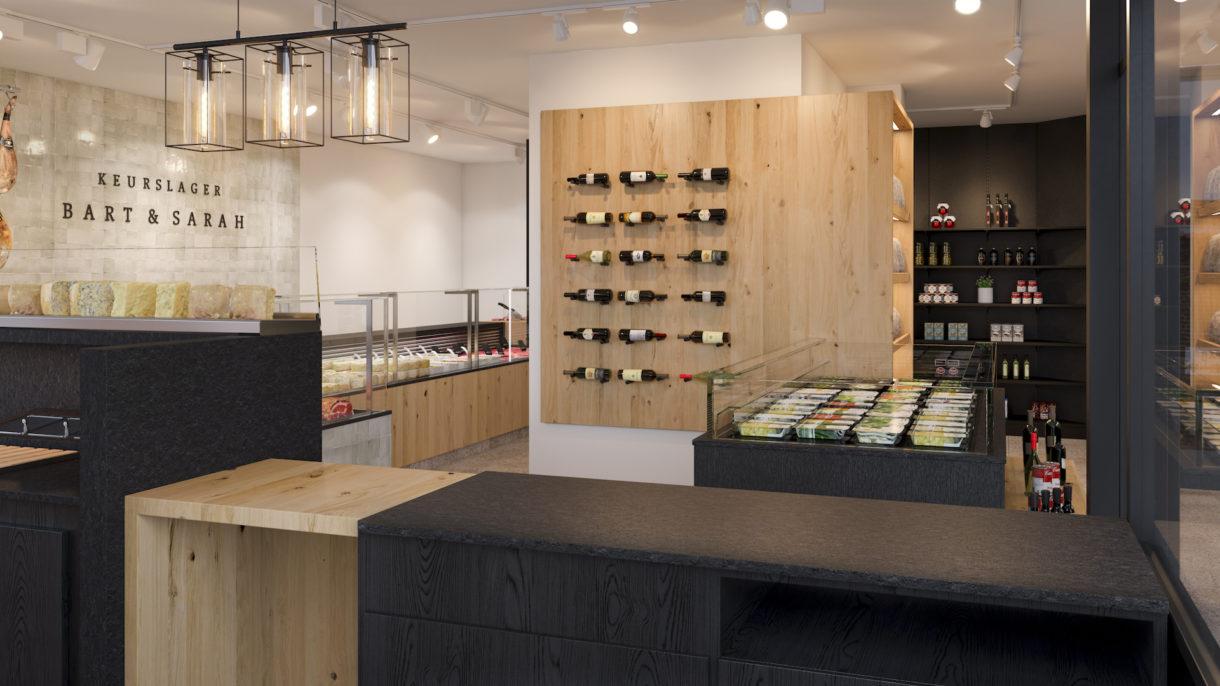 Butcher shop interior 3D visualization