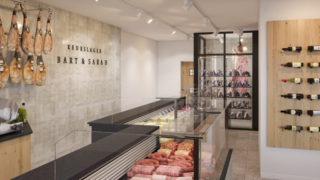 Butcher shop 3D rendering with meat