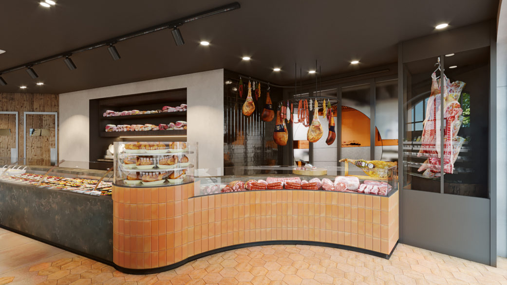 Terracotta butcher shop counter